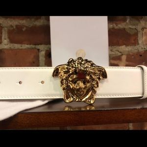 Versace white leather gold medusa head buckle belt